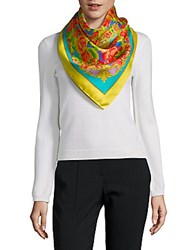 Saks Fifth Avenue Silk Floral Neck Scarf Yellow