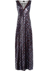 Marc Jacobs Floor Length Sequin Embellished Gown Blue