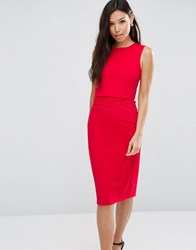 Asos Pencil Dress With Crop Top Layer And Lace Detail Red