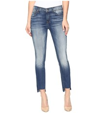 7 For All Mankind Ankle Skinny W Step Hem In Distressed Authentic Light 3 Distressed Authentic Light 3 Women's Jeans Blue