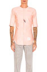 Thom Browne Collarless Short Sleeve Oxford In Orange