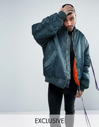 Reclaimed Vintage Inspired Super Oversized Bomber Jacket In Blue With Taping Teal