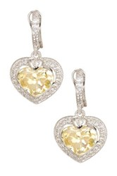 Judith Ripka Faceted White Sapphire Heart Drop Earrings Yellow