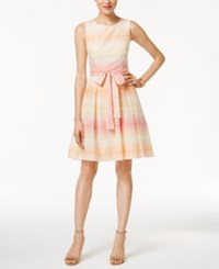 Tommy Hilfiger Ombre Stripe Fit And Flare Dress Melon Yellow