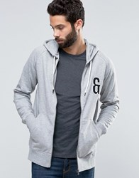 Only And Sons Zip Through Hoodie With Chest Embroidery Light Grey Melange