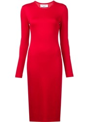 Prabal Gurung Long Sleeve Knit Dress Red