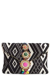 Steve Madden Steven By Beaded And Embroidered Clutch Black