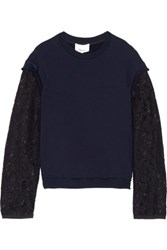 3.1 Phillip Lim Corded Lace Paneled Cotton Jersey Top Midnight Blue