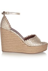 Tabitha Simmons Harp Metallic Perforated Leather Espadrille Wedge Sandals Gold
