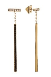 Vince Camuto Two Tone Pave Linear Bar Drop Earrings Metallic