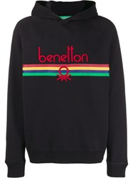 United Colors Of Benetton Logo Embroidered Hoodie Black