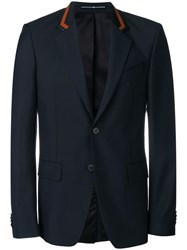 Givenchy Leather Detailed Blazer Blue