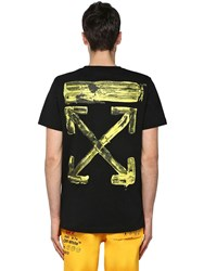 Off White Oversize Printed Cotton Jersey T Shirt Black