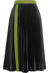 Christopher Kane Studded Pleated Satin Skirt Black