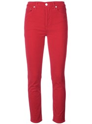 Re Done Cropped Skinny Jeans Red