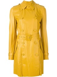 Desa Collection Double Breasted Trench Coat Yellow And Orange