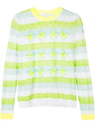 Delpozo Striped Floral Sweater Cotton Polyester Polyamide Green