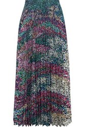 Mary Katrantzou Woman Pleated Printed Washed Crepe Midi Skirt Forest Green