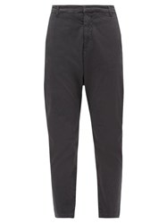 Nili Lotan Paris Cotton Blend Tapered Trousers Dark Grey