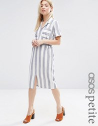 Asos Petite Short Sleeve Shirt Dress In Linen Stripe Navy Ivory