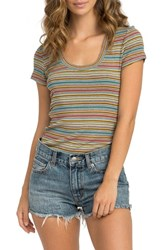 Rvca 'S Motives Stripe Ribbed Tee Multi