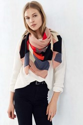 Urban Outfitters Painterly Brushed Square Scarf Black Multi