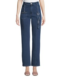 See By Chloe Straight Leg Ankle Jeans With Braided Details Blue