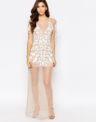 Maya Nude Mesh Maxi Dress With Embellishment Cream