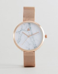 Asos Marble Face Mesh Watch Rose Gold Copper