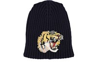 Gucci Men's Roaring Tiger English Rib Knit Beanie Navy