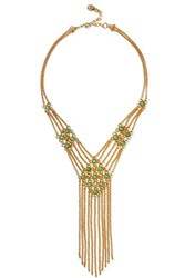 Ben Amun Gold Tone Stone Necklace Green