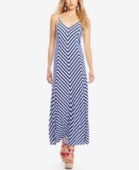 Polo Ralph Lauren Striped Jersey Maxi Dress White Royal