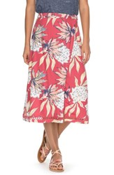 Roxy Endless Valley Print Surplice Skirt Holly Berry House Of The Sun