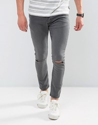 Brave Soul Skinny Jeans With Knee Rips Grey