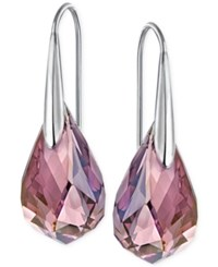Swarovski Silver Tone Lilac Crystal Drop Earrings