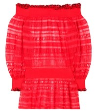 Alexander Mcqueen Silk And Cotton Lace Top Red
