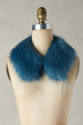 Anthropologie Faux Fur Cocktail Collar Blue