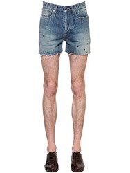 Saint Laurent Cotton Denim Shorts W Metal Eyelets Light Blue