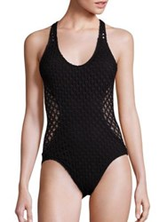 Milly One Piece Netting Martinique Swimsuit Black