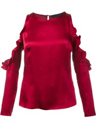 Cushnie Et Ochs Cut Out Ruffle Blouse Red