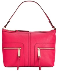 Tommy Hilfiger T Group Pebble Leather Hobo Raspberry