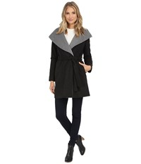 Dkny Oversized Hooded Shawl Collar Belted Wool 30350 Y5 Charcoal Women's Coat Gray