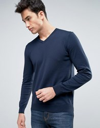 United Colors Of Benetton V Neck Jumper In 100 Cotton Navy 06U