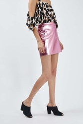 Boutique Metallic Leather Mini Skirt By Pink