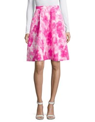 Ellen Tracy Floral Print Box Pleat Skirt Floral Pink