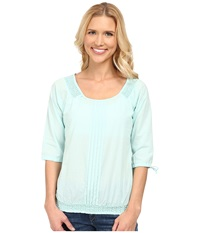 Aventura Clothing Bevin Peasant Top Blue Tint Women's Long Sleeve Pullover Green