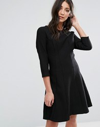 Lavand 3 4 Sleeve Strutured Skater Dress Black