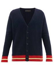 The Elder Statesman Hem Stripe V Neck Cashmere Cardigan Navy Multi