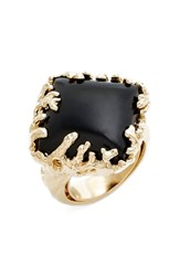 Metal And Stone Women's Coral Set Ring Gold Onyx