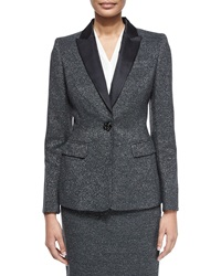 Escada Long Sleeve Metallic Tuxedo Jacket Anthracite